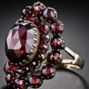 Ring of the Victorian period. Garnet in gold