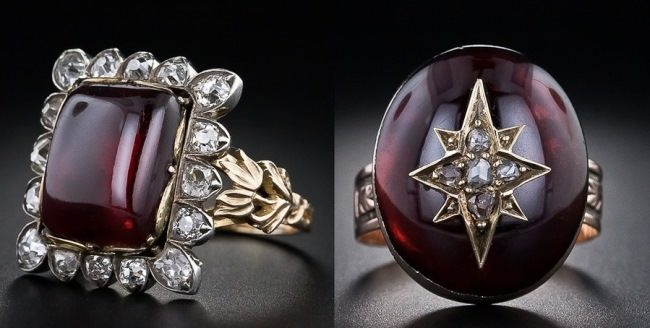 Rings of the Victorian era. Garnets, diamonds, white and yellow gold