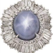 Star Sapphire, Diamond, Platinum Ring-Dant