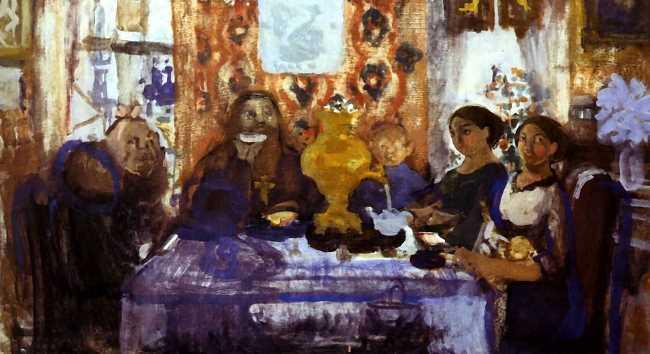 Tea drinking, sketch, 1912