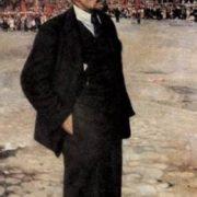 V.I. Lenin on the background of the Kremlin