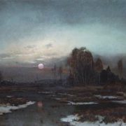 Autumn landscape with a swampy river at the moon. 1871