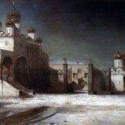 Cathedral Square in the Moscow Kremlin at night