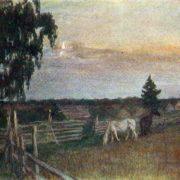 Grazing horses. 1909