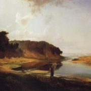 Landscape with river and fisherman