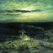 Moonlight night. Swamp