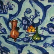 Still life with a blue tablecloth