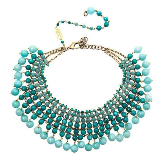 Graceful necklace with aquamarine