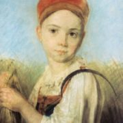 Peasant girl with a sickle in the rye