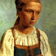 Peasant woman is embroidering