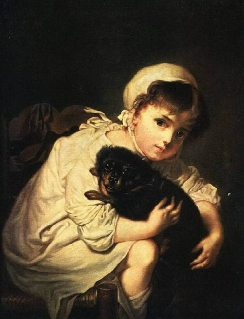 Romantic portraits by Vasily Tropinin. A girl with a dog
