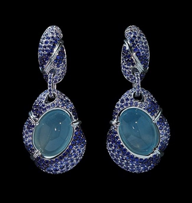 Stunning earrings with aquamarine