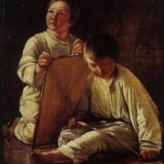 Two peasant boys with a kite
