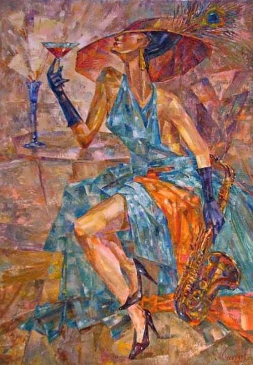 Anton Kolokolov. A lady with a saxophone. 2009