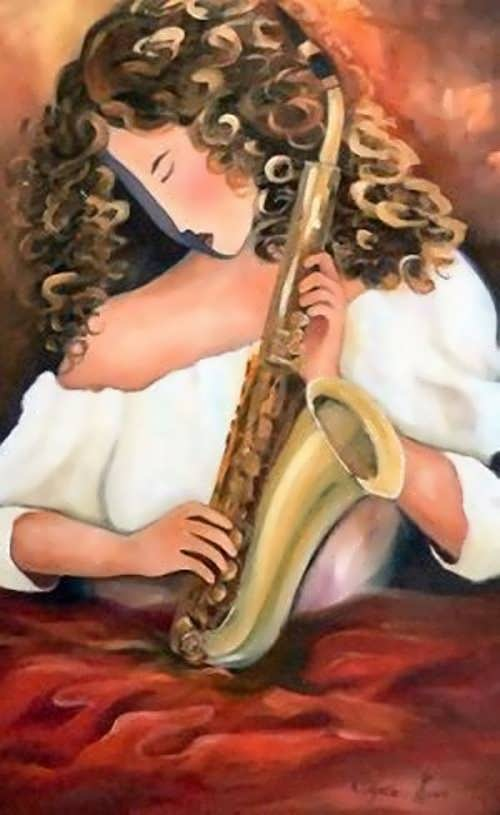 Cynthia Kuun. Lady with Saxophone