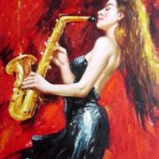 Lady in Black Playing Saxophone