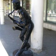 Monument to the saxophonist in Chelyabinsk, Russia
