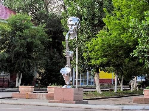 Monument to the saxophonist in Zhezkazgan, Kazakhstan