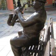 Monument to the saxophonist. Hokkaido, Japan