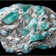 Crystals of emerald in mica