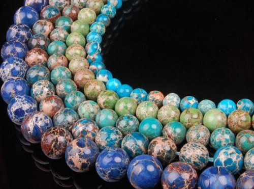 Necklace made of colorful jasper