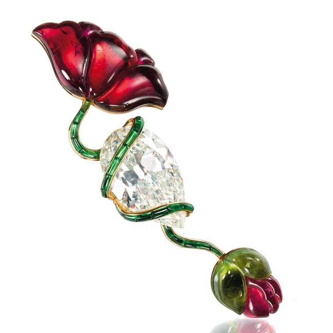 A diamond pink and green tourmaline Poppy flower