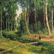 A stream in the birch forest. 1883
