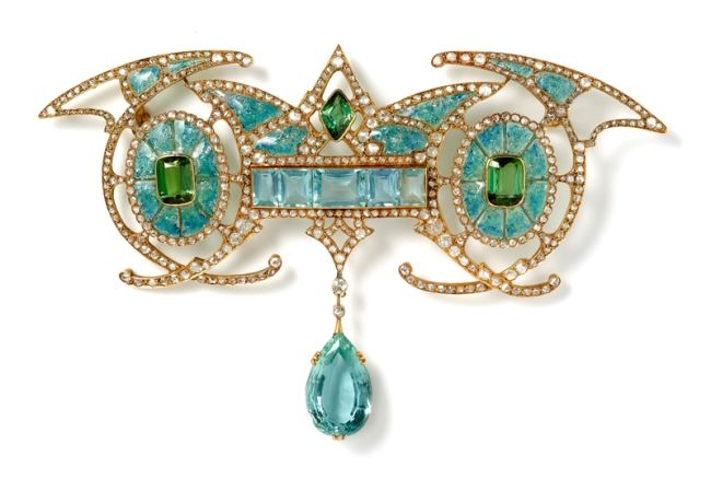 Aquamarine, tourmaline, diamond and gold brooch by Georges Fouquet circa 1901.