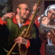 Bagpiper and Old Woman, circa 1550