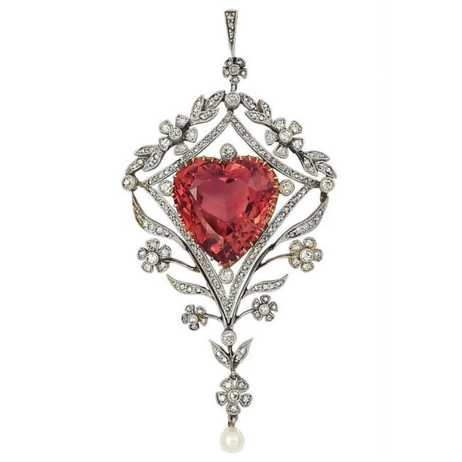 Belle Epoque Platinum, Gold, Pinkish Orange Tourmaline, Diamond and Pearl Pendant with Chain.
