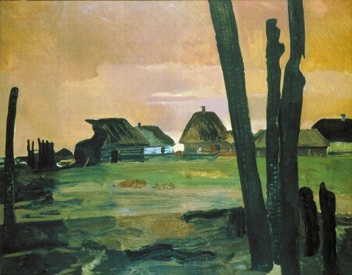 Burnt village, 1942. Russian Museum, St. Petersburg
