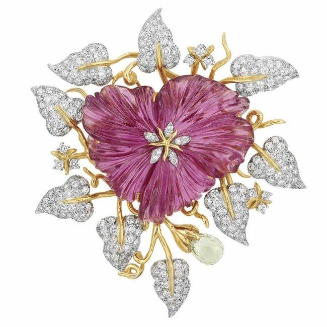 Carved Pink Tourmaline Flower Clip in Platinum and Gold with Beryl Briolette and Diamonds by Valentin Magro.