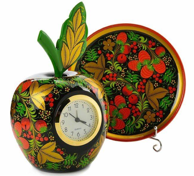 Clock Khokhloma style