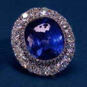 Diamond & Ceylon Sapphire Platinum Brooch