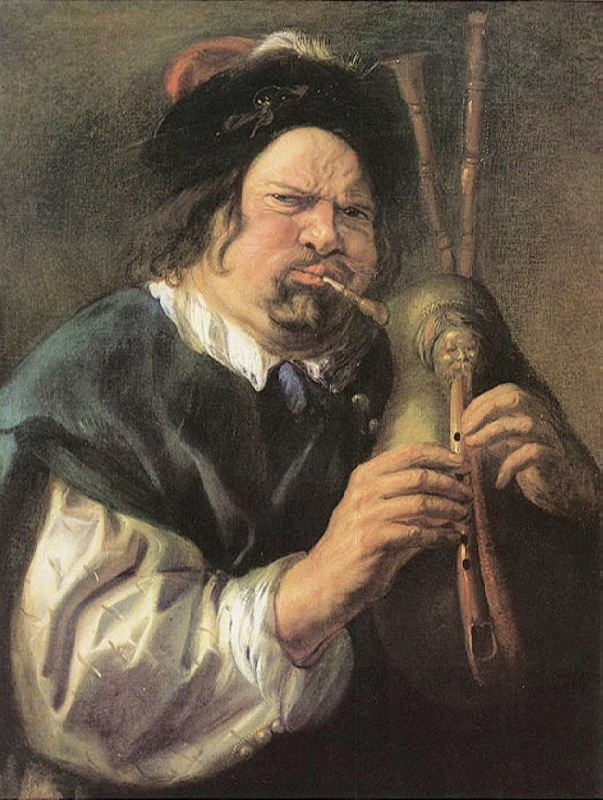 Jacob Jordaens. Man playing the Bagpipes