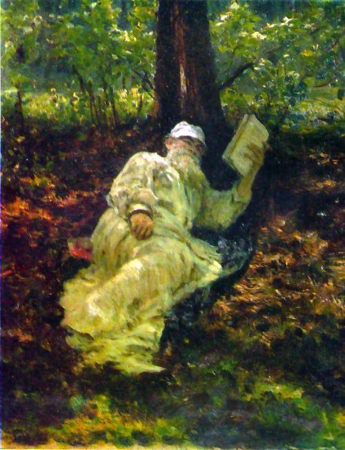 L. N. Tolstoy is resting in the forest, 1891