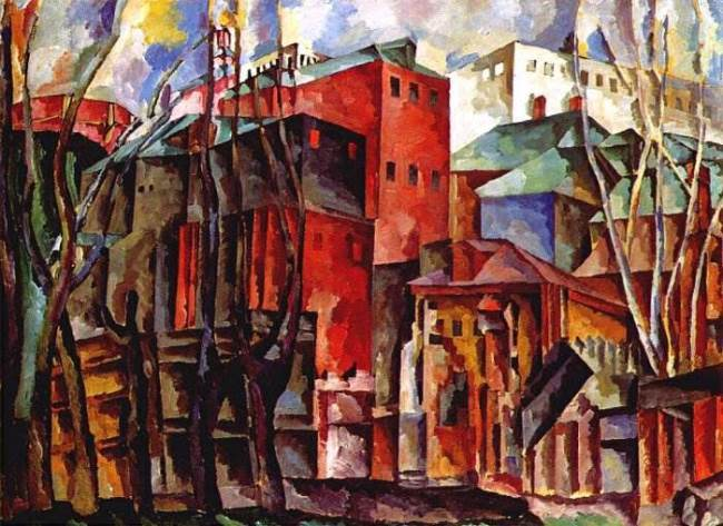 Landscape with dry trees and tall houses, 1920