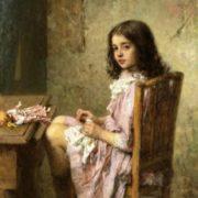 Little seamstress. 1910