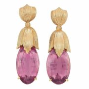 Pair of Gold and Pink Tourmaline Pendant Earclip.