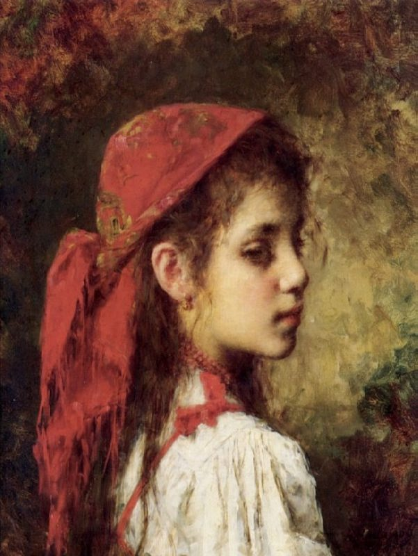 Portrait of a Young Girl in A Red Kerchief