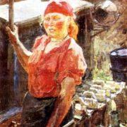 Portrait of a tractor driver Manya Chernyaeva. 1949
