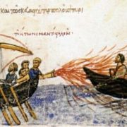 The Byzantine fleet used the Greek fire