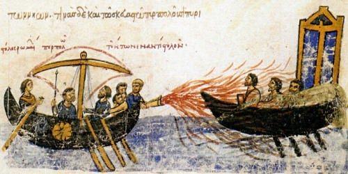 The Byzantine fleet used the Greek fire