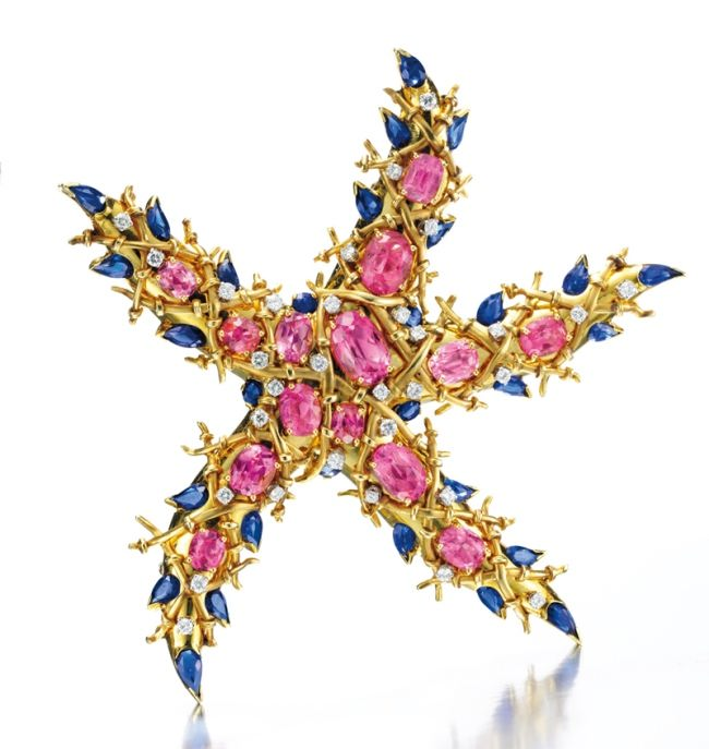 Tourmaline, sapphire and diamond Starfish Brooch bu jean Schlumberger, circa 1945.