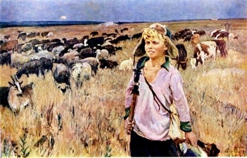 Vitya-shepherd boy, 1951