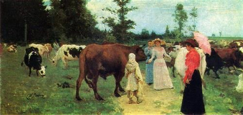 Young ladies on a walk, among a herd of cows. 1896