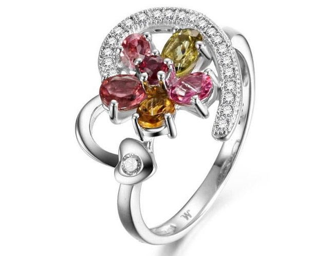 female elegant and charming 925 sterling silver with tourmaline and cz customized rings