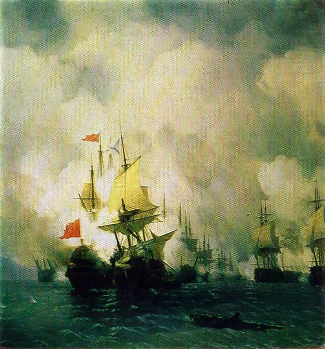 Battle in the Chios Strait June 24, 1770. 1848