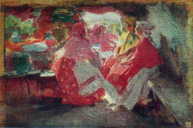 The guests. Sketch for the picture. 1914