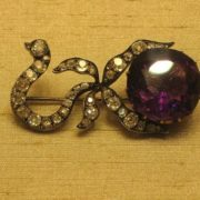 Brooch. Moscow, the end of the 19th century. Master monogrammist HM. Amethyst, diamonds